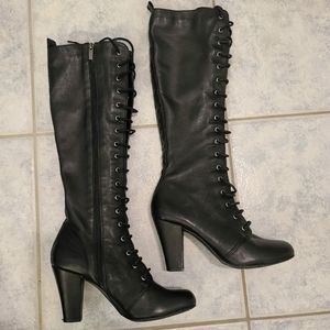 Pegabo Sexy leather tall boots black size 36